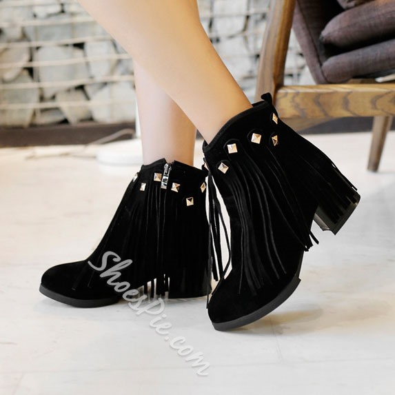 Shoespie Tassels Rivets Square Heel Ankle Boots