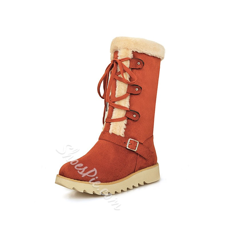 Shoespie Warm Plush Lace up Snow Boots