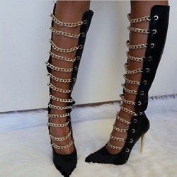 Shoespie Chains Decoration Stiletto Knee High Boots