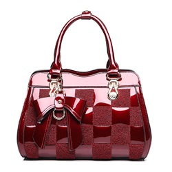 Shoespie Elegant Color Block Patent PU Tote Bag