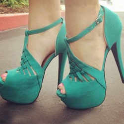 Shoespie Cut-out T-strap Platform Sandals