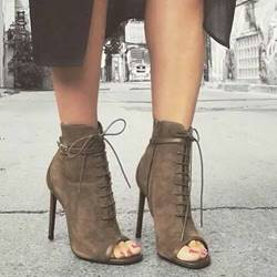 Shoespie Lace Up Suede Stiletto Heel Ankle Boots