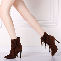 Shoespie Tassels Fashion Stiletto Ankle Boots