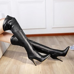 Shoespie Solid Color Knee High Boots
