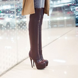 Shoespie Pure Color Stiletto Over Knee High Boots