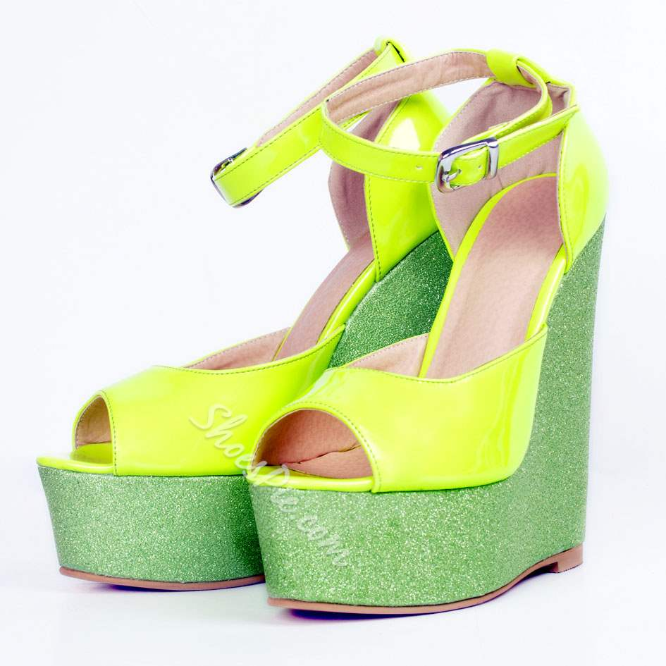 Shoespie Lemon Color Wedge Sandals