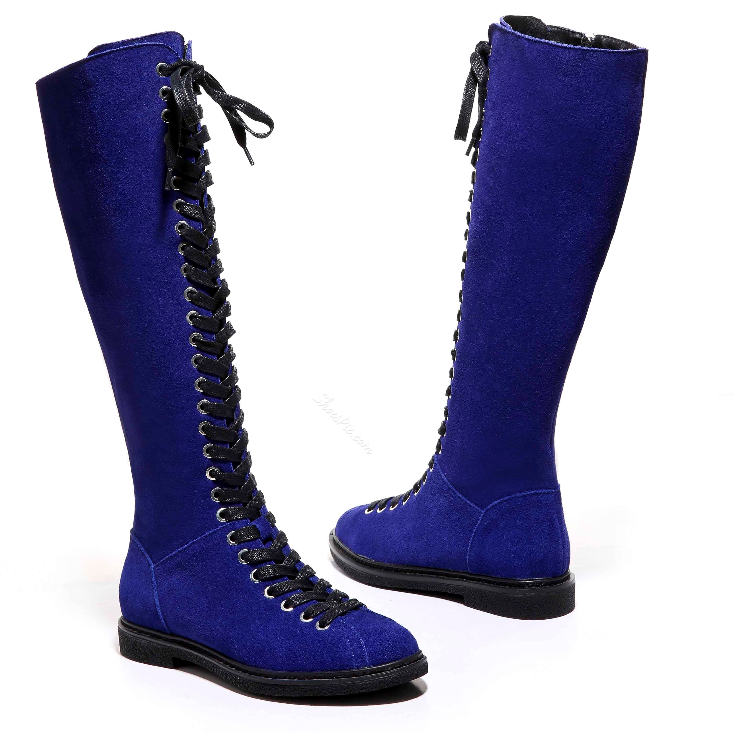 Shoespie Nubuck Lace up Flat Knee High Boots