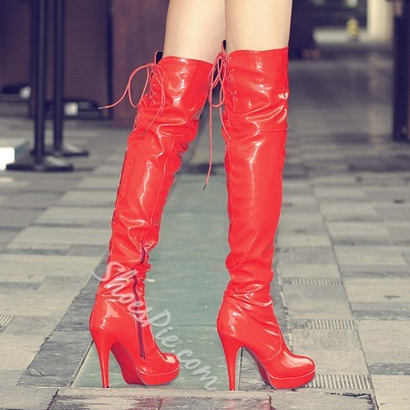 Shoespie Patent Leather Lace up Zipper Knee High Boots