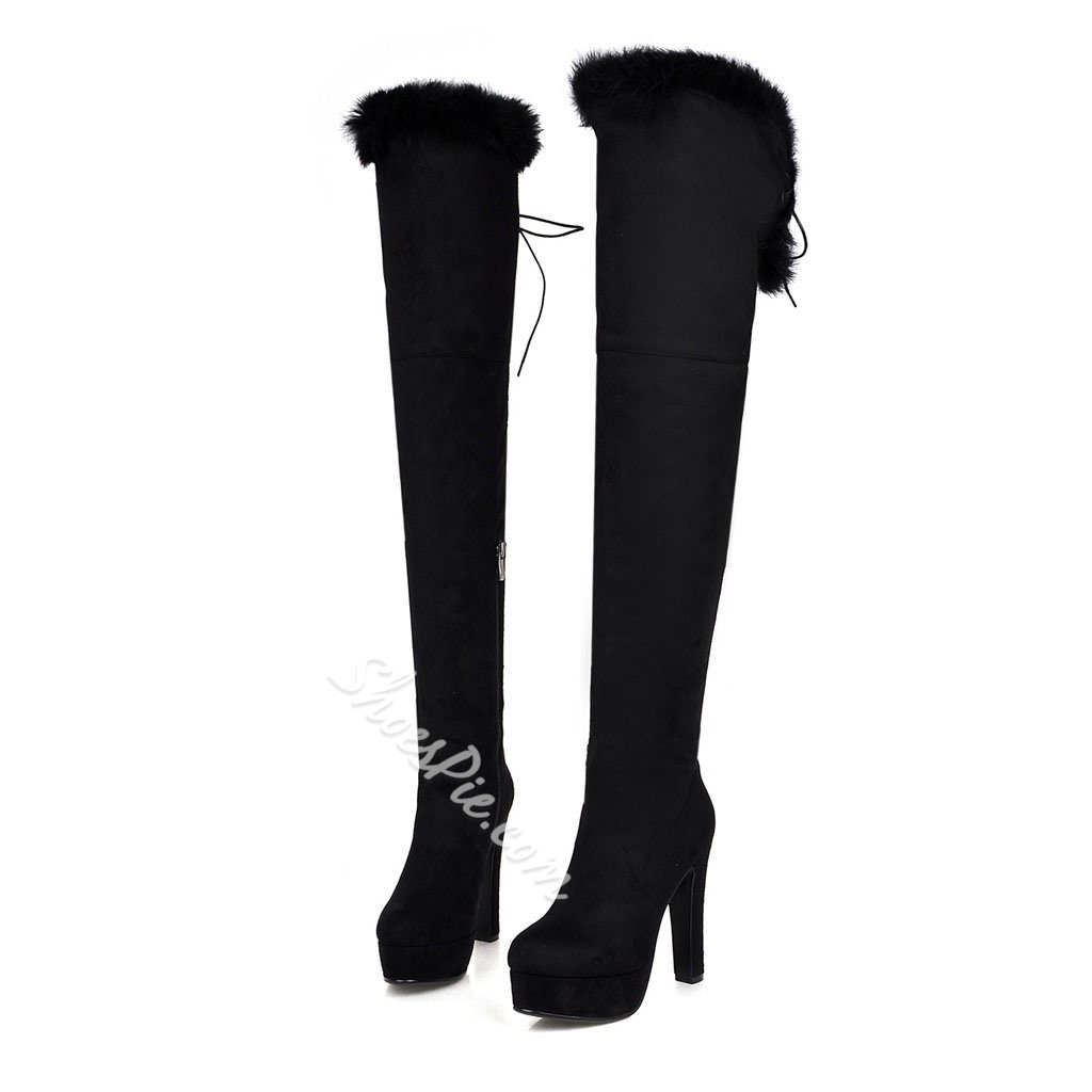 Shoespie Nubuck Fur Chunky Heel Over Knee High Boots