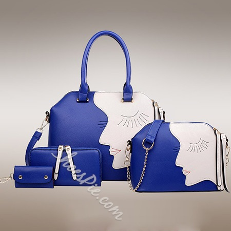Shoespie Color Block One Shoulder Handbag (4 bags included)