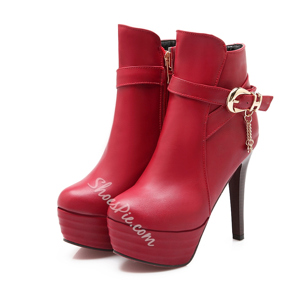 Shoespie Strap Buckle Decoration Ankle Boots