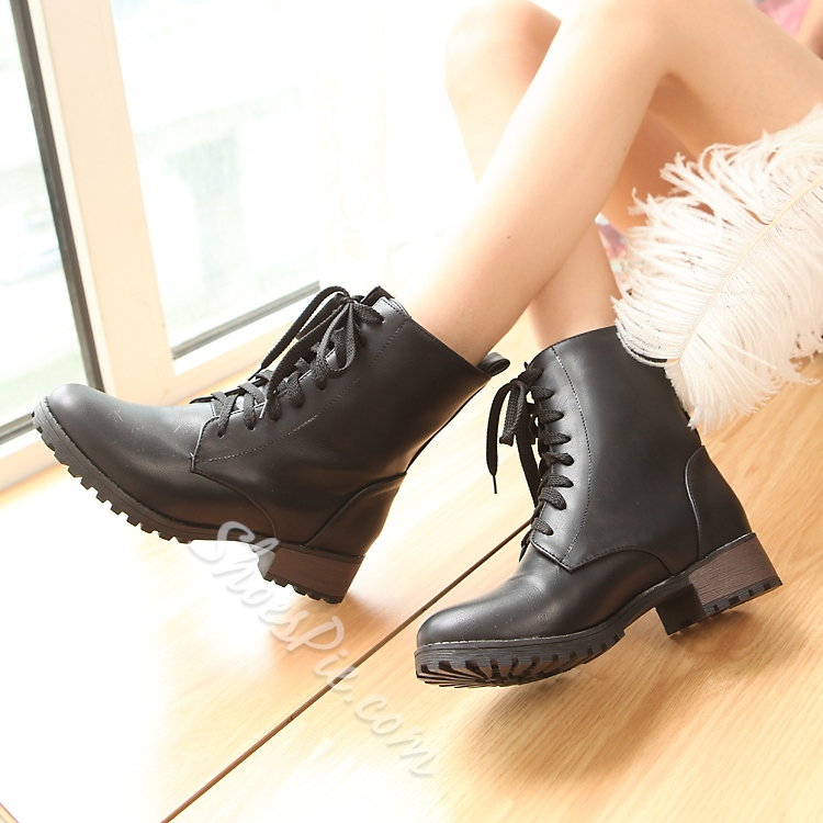 Shoespie Stylish Lace up Flat Boots