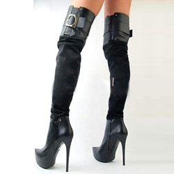 Shoespie Side Zipper Buckles Over Knee High Boots