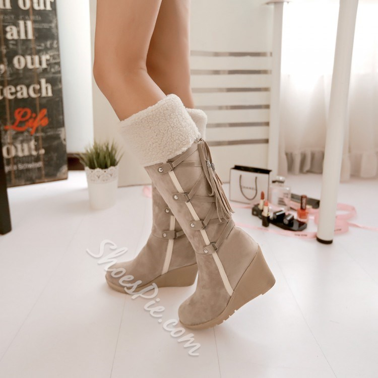 Shoespie Suede Hairy Back Lace Up Wedge Heel Knee High Boots Shoespie