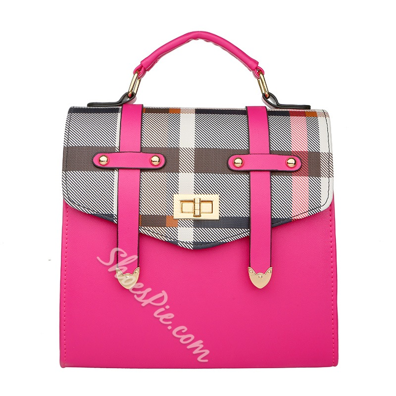 Shoespie Fashionable Color Block Tote Handbag