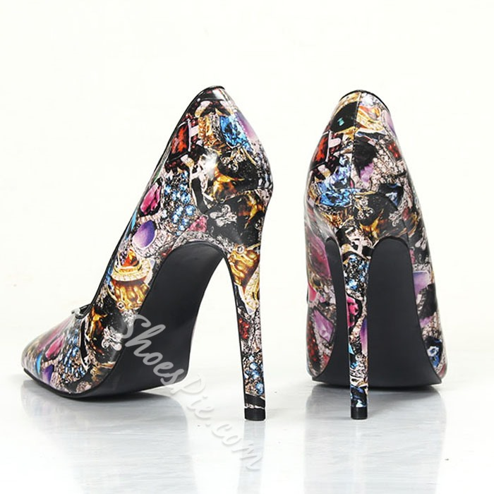 Shoespie Flower Print Pointed-toe Stiletto Heels