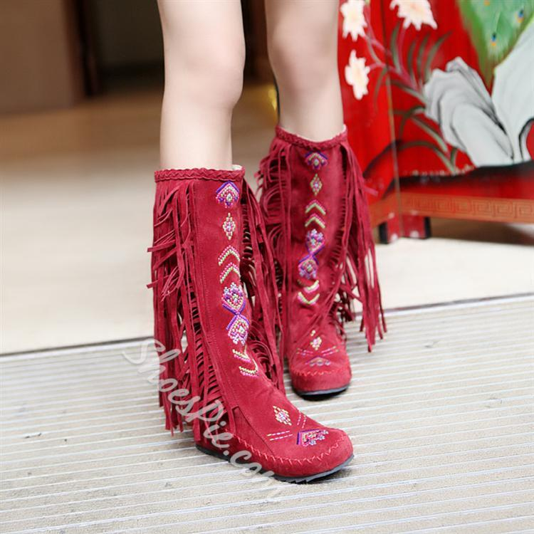 Shoespie Tassels Decoration Knee High Snow Boots