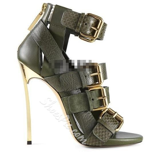 Shoespie Buckle Decorated Classic Dress Sandals