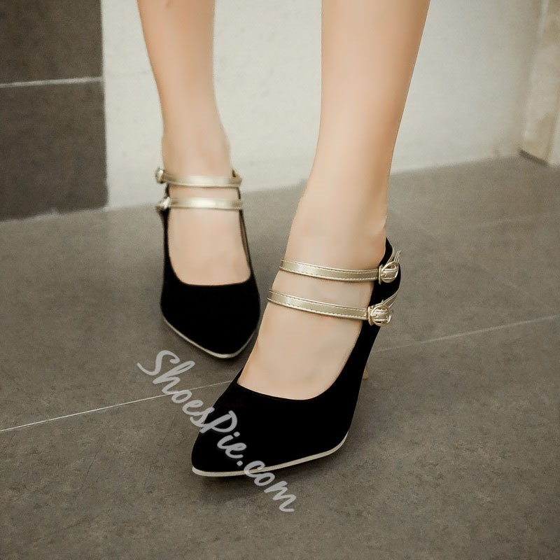 Shoespie Suede Double Straps Stiletto Heels