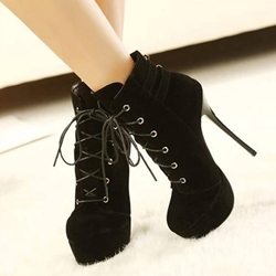 Shoespie Black Lace up Ankle Boots