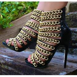 Shoespie Metal Chain Platform Sandals