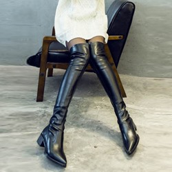 Shoespie Black Chunky Heel Knee High Boots
