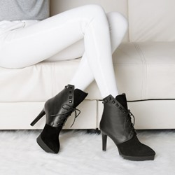 Shoespie Contrast Materials Lace up Ankle Boots