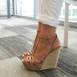 Shoespie Solid Color Straw Wedge Sandals