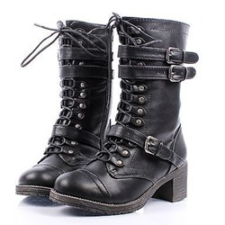 Shoespie Buckles Decoration Lace up Square Heel Ankle Boots