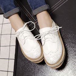Shoespie Cut-out Lace-up Loafers