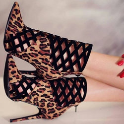 Shoespie Leopard Cut outs Stiletto Heels