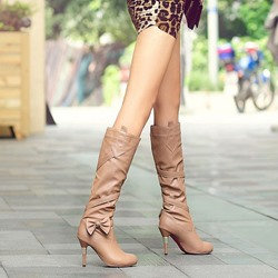Shoespie Side Bowtie Decoration Knee High Boots