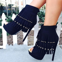 Shoespie Tassels Peep-toe Stiletto Ankle Boots