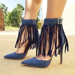 Shoespie Suede Tassels Pointed-toe Stiletto Heels