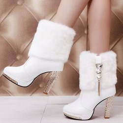 Shoespie Winter Stiletto Heel Rhinestone Tassel Boots