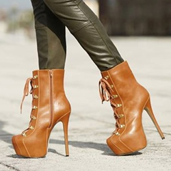 Shoespie Brown Lace up Zipper Ankle Boots
