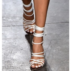 Shoespie Wrap White Dress Sandals