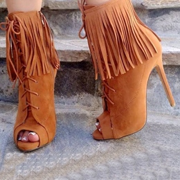 Shoespie Tassels Lace up Peep-toe Ankle Boots