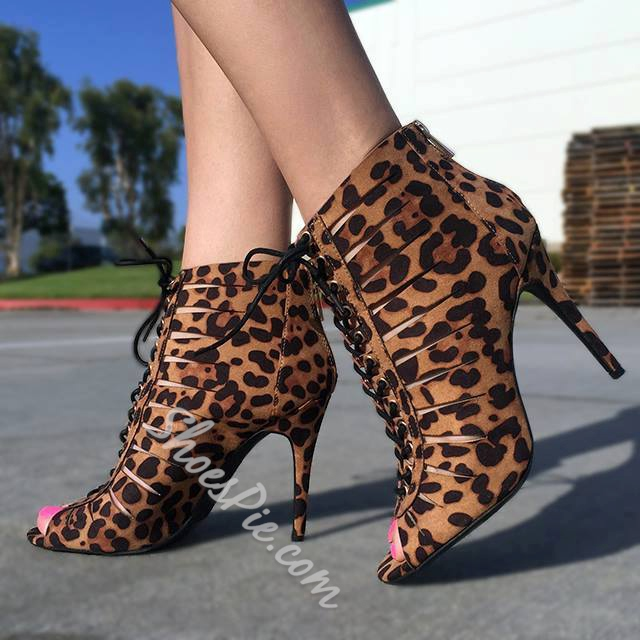 Shoespie Leopard Lace up Peep-toe Ankle Boots