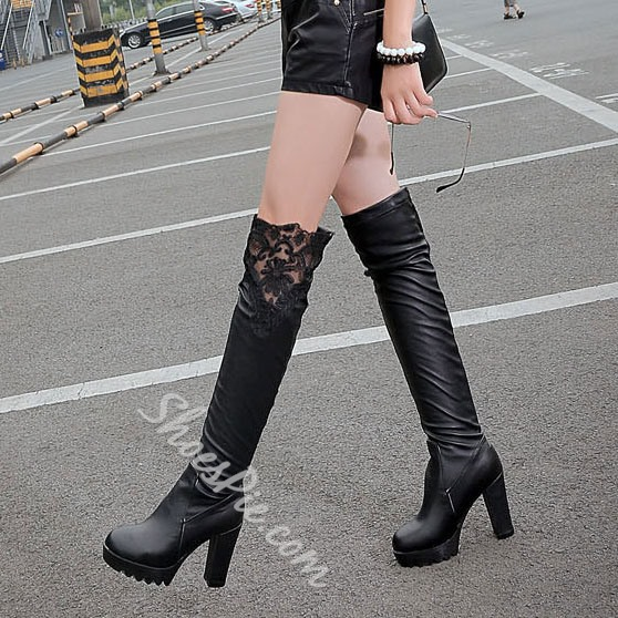 Shoespie Lace Contrast Chunky Heel Over Knee High Boots