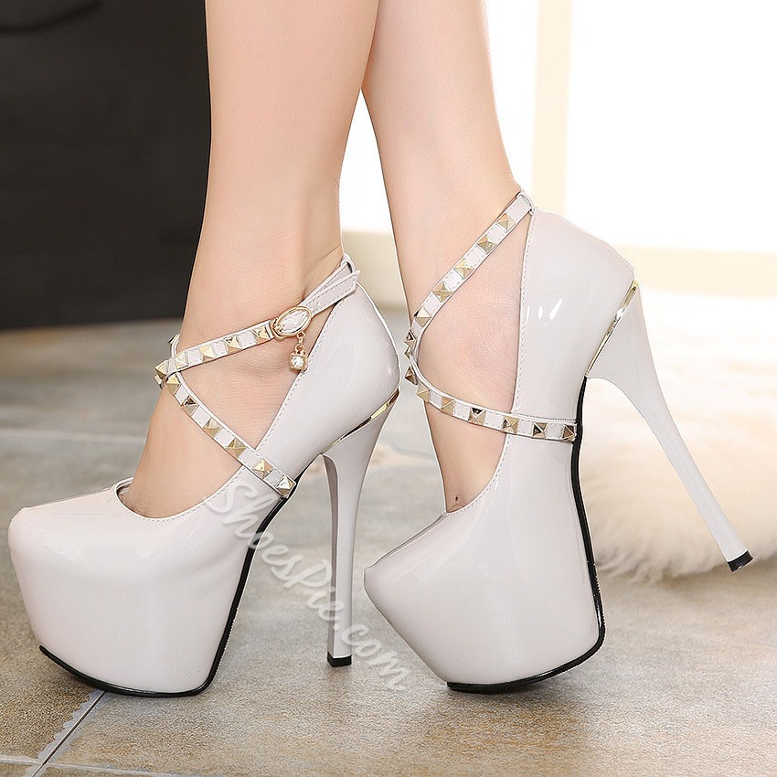 Shoespie Metal Drill Belt Buckle With Rhinestone Platform Heels
