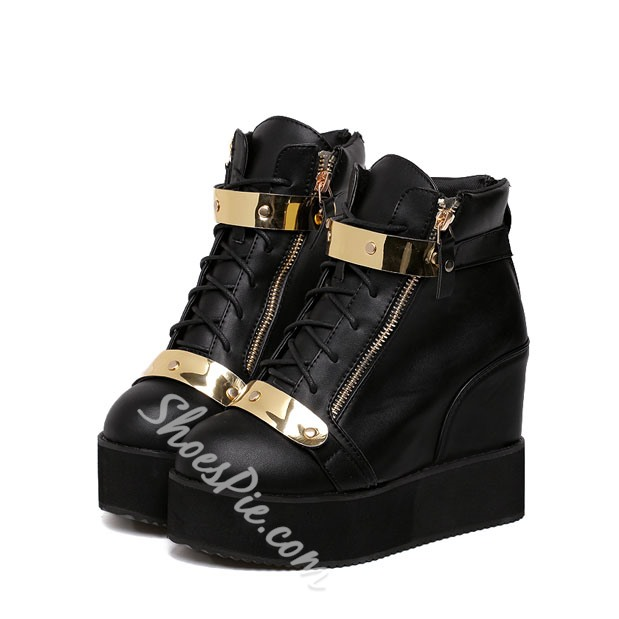 Shoespie Metal Decoration Lace up Wedge Heel Ankle Boots