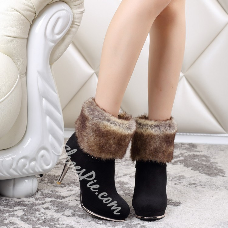 Shoespie Hairy Nubuck Ankle Boots