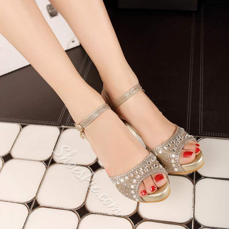 Shoespie Sequined Rhinestone Dress Sandals