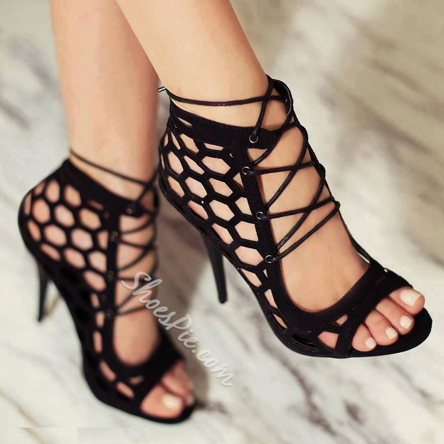 Shoespie Lace-up Decorated Peep-toe Dress Sandals