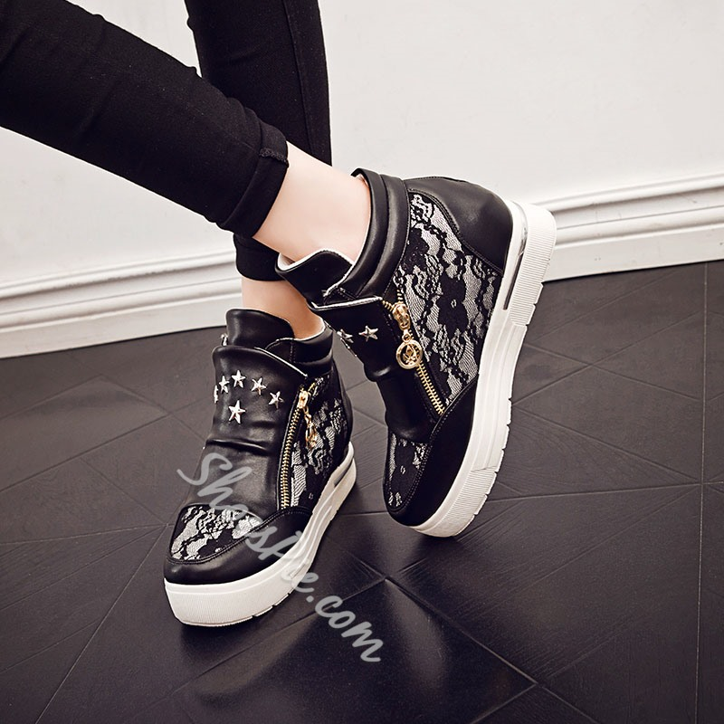 Shoespie Lace Zipper Sneaker