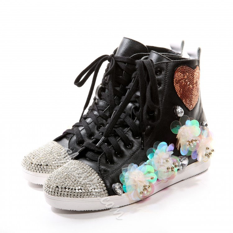 Shoespie Rhinestone Studded Lace-up Sneaker