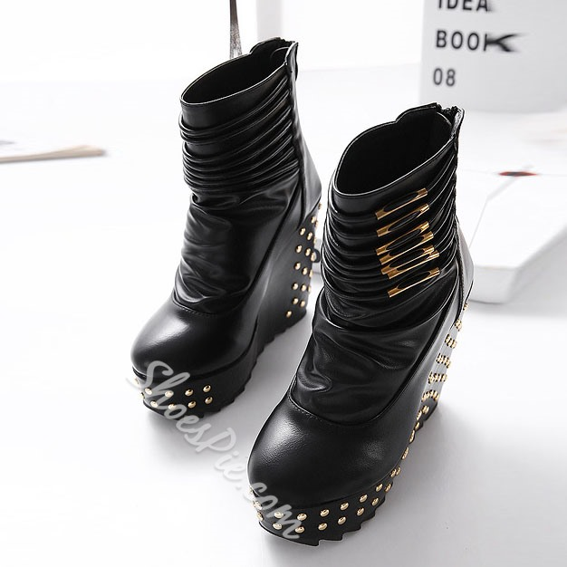 Shoespie Rivers Decoration Zipper Wedge Heel Ankle Boots