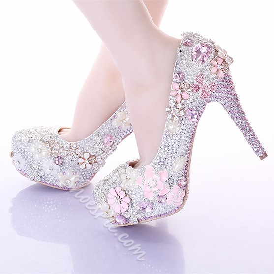 Shoespie Flower Rhinestone Bridal Shoes