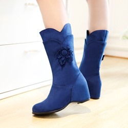 Shoespie Mid Calf Wedge Heel Boots